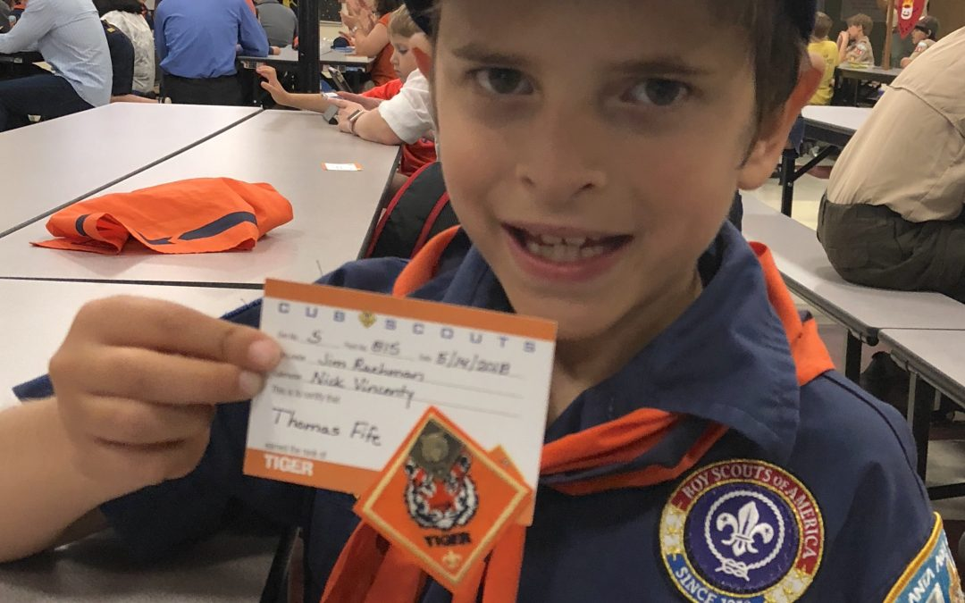 Tommy Earns Tiger Badge